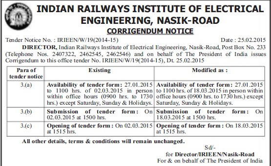Submission of Tender (Indian Railways Institute of Electrical Engineering (IRIEEN))