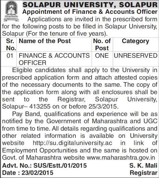 Finance and Accounts Officer (Solapur University)