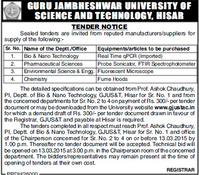 Supply of Fume hoods (Guru Jambheshwar University of Science and Technology (GJUST))