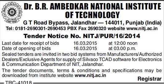 Supply of Silvaco TCAD (Dr BR Ambedkar National Institute of Technology (NIT))