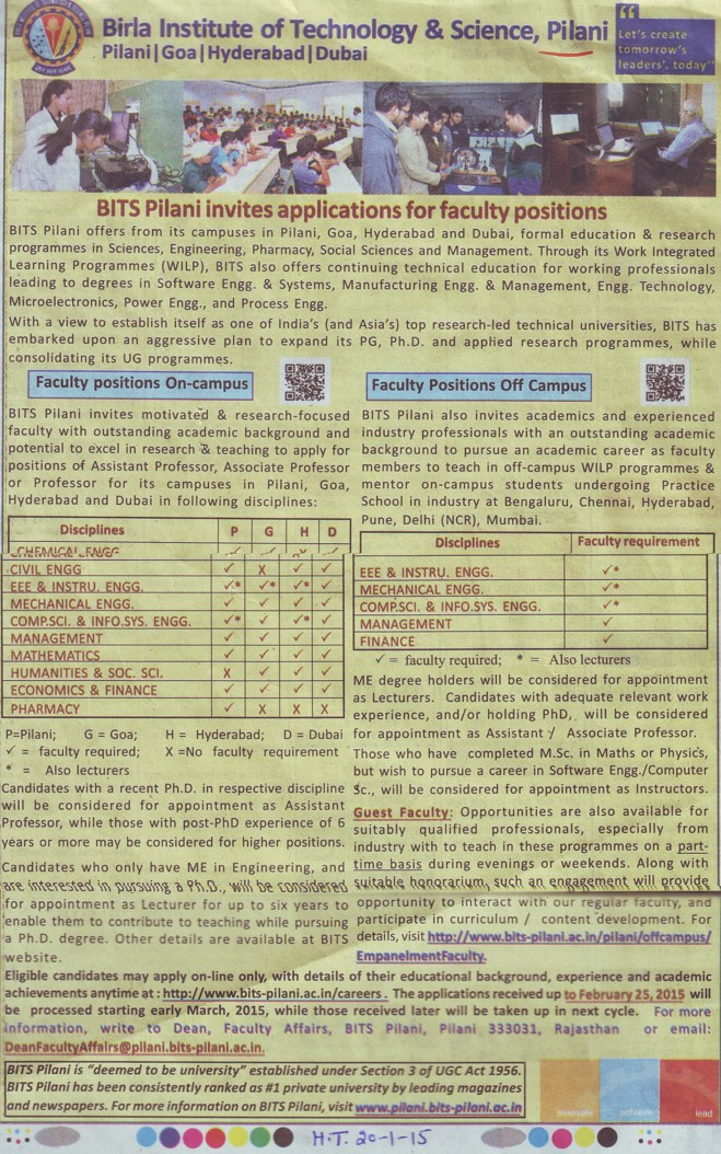 Asstt Professor for Chemical Engineer (Birla Institute of Technology and Science (BITS))