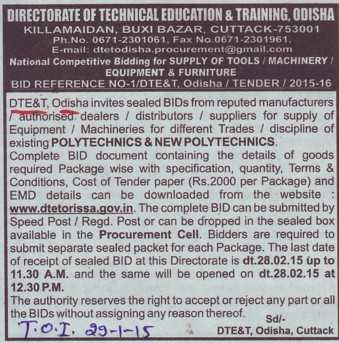 Supply of Equipments (Directorate of Technical Education and Training (Technical Education Board Orissa))