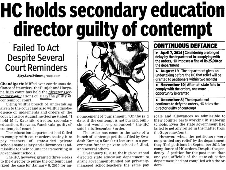 HC holds sec edu director guilty of contempt (Directorate of School Education Haryana)