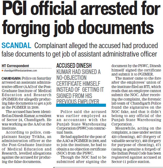 PGI official arrested for forging job documents (Post-Graduate Institute of Medical Education and Research (PGIMER))