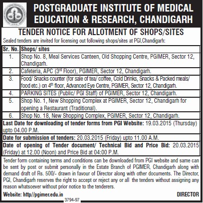 Tender for Shopping Complex (Post-Graduate Institute of Medical Education and Research (PGIMER))