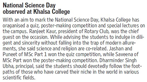 National Science Day held (Khalsa College)