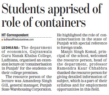 Students apprised of role of containers (Gujranwala Guru Nanak Khalsa College)