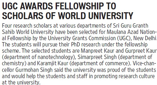UGC awards fellowship to scholars of World University (University Grants Commission (UGC))