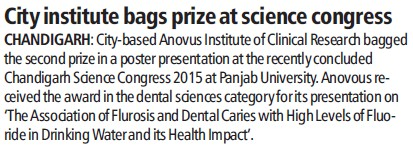City Institute bags prize at Science Congress (Anovus Institute of Clinical Research)