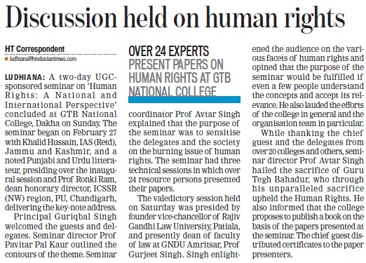 Discussion held on Human righrs (GTB National College)
