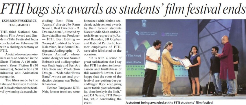 FTII bags six awards as students film festival ends (Film and Television Institute of India)