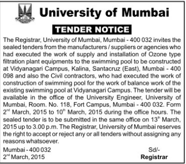 Supply of Ozone type filtration (University of Mumbai (UoM))