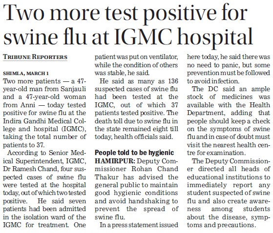 Two more test positive for swine flu at IGMC (Indira Gandhi Medical College (IGMC))