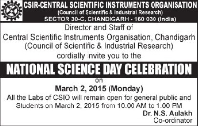 National Science Day celebration (Indo Swiss Training Centre Central Scientific Instruments Organisation)