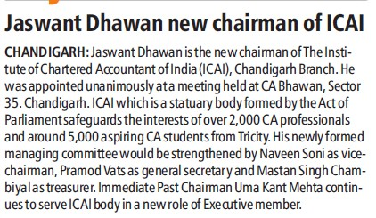 Jaswant Dhawan new Chairman of ICAI (Institute of Chartered Accountants of India (ICAI))