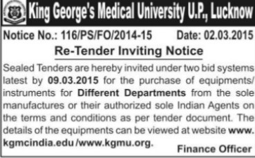 Purchase of Departmental equipments (KG Medical University Chowk)