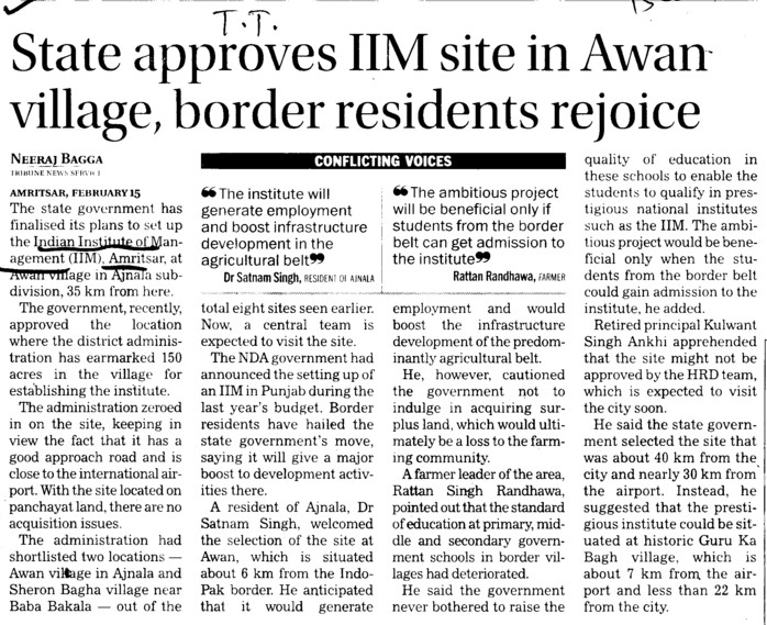 State approves IIM site in Awan village, border residents rejoince (Indian institute of Management (IIM))