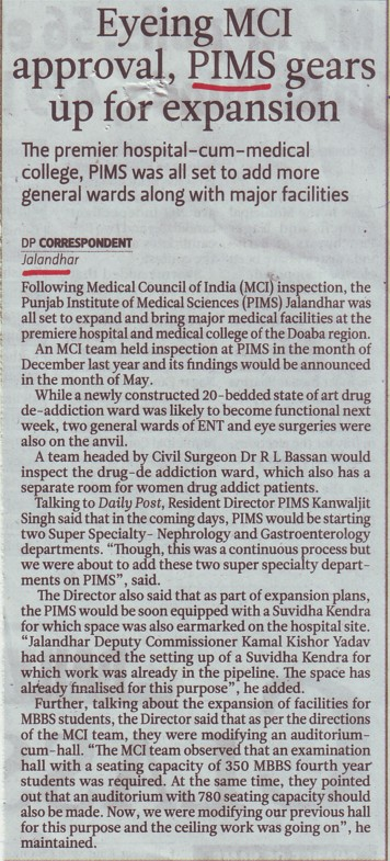 Eyeing MCI approval, PIMS gears up for expansion (Punjab Institute of Medical Sciences (PIMS))