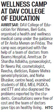 Wellness camp at DAV College (DAV College of Education for Women)