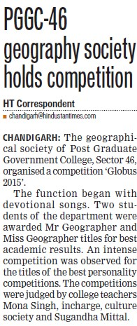 PGGC geography society holds competition (Post Graduate Government College, Co-Educational (Sector 46))