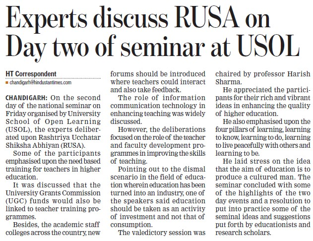 Experts discuss RUSA on day two of seminar at USOL (University School of Open Learning (USOL))