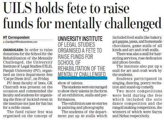 UILS holds fete to raise funds for mentally challenged (PU University Institute of Legal Studies (UILS))