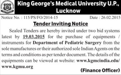 Purchase of Pediatric surgery items (KG Medical University Chowk)