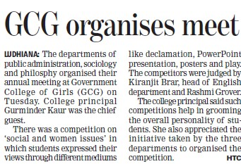 GCG organises meet (Government College for Women)