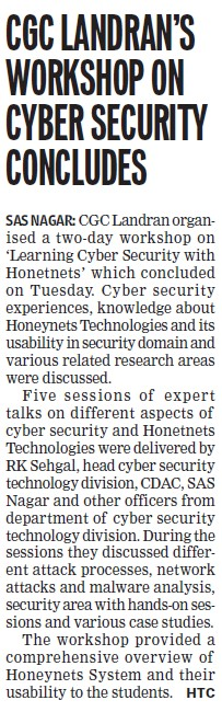 CGC Landran workshop on cyber security concludes (Chandigarh Group of Colleges)