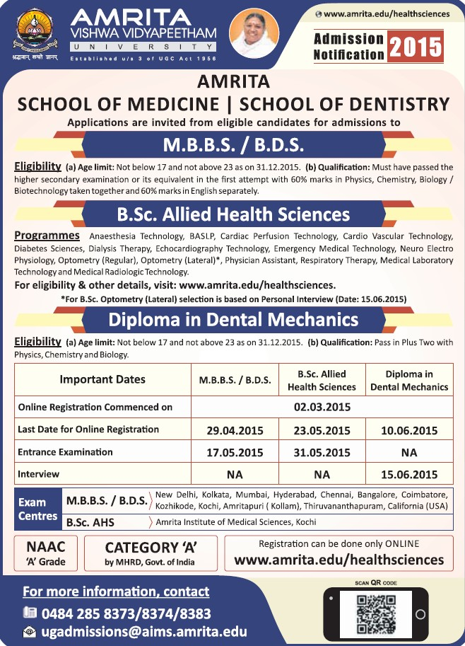 BSc allied in Health Sciences (Amrita Vishwa Vidyapeetham)