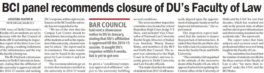 BCI panel recommends closure of DUs Faculty of Law (Delhi University)