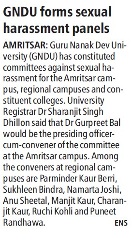 GNDU forms sexual harassment panels (Guru Nanak Dev University (GNDU))
