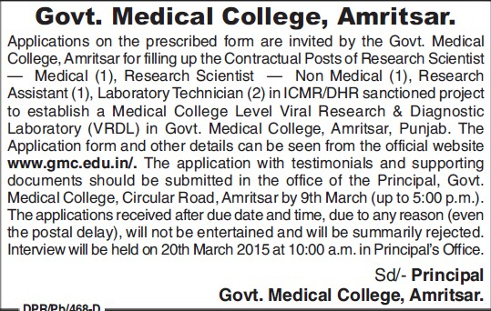 Research Asstt (Government Medical College)