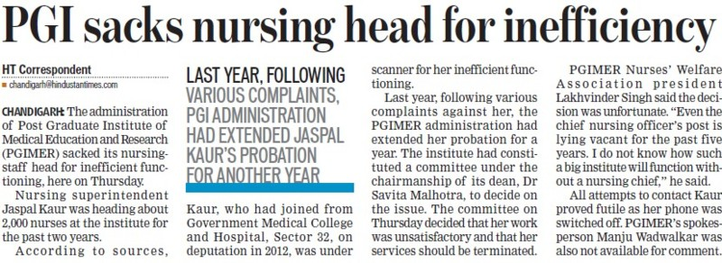 PGI sacks nursing head for inefficiency (Post-Graduate Institute of Medical Education and Research (PGIMER))