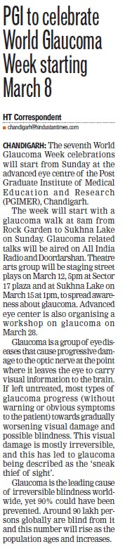 PGI to celebrate work Glaucoma week (Post-Graduate Institute of Medical Education and Research (PGIMER))