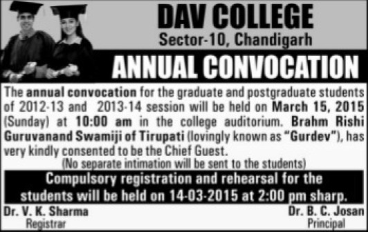 Annual Convocation Program 2015 (DAV College Sector 10)