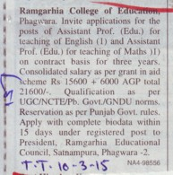Asstt Professor for Maths (Ramgarhia College of Education)