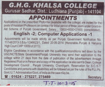 Asstt Professor on contract basis (GHG Khalsa College)