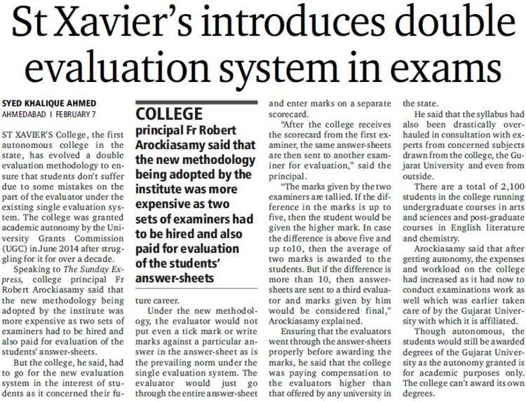 Xavier introduces double evaluation system in exams (St Xaviers College, Ahmedabad)