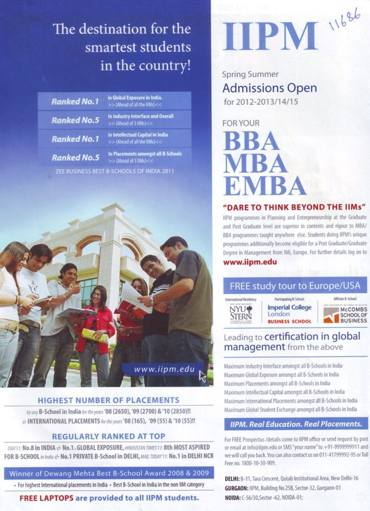 BBA, MBA and EMBA (Indian Institute of Planning and Management)