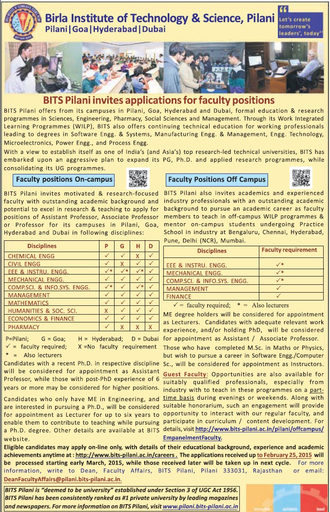 Faculty in CE and Pharmacy (Birla Institute of Technology and Science (BITS))