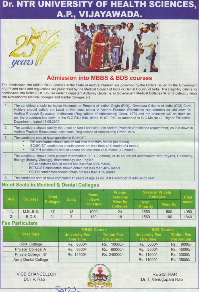 MBBS and BDS courses (NTR University of Health Sciences (NTRUHS))