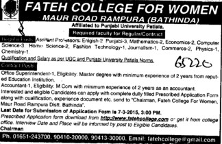 Asstt Professor for PCM (Fateh College for Women)