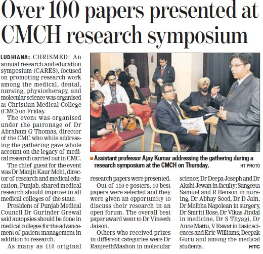 Over 100 papers presented at CMCH research symposium (Christian Medical College and Hospital (CMC))