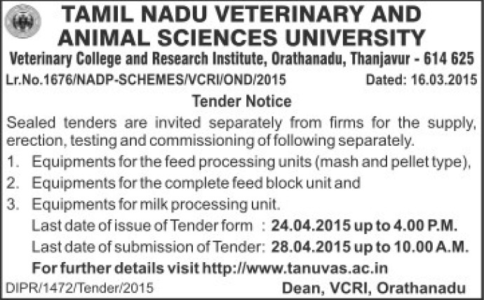 Supply of milk processing equipments (Tamil Nadu Veterinary And Animal Sciences University TANUVAS)
