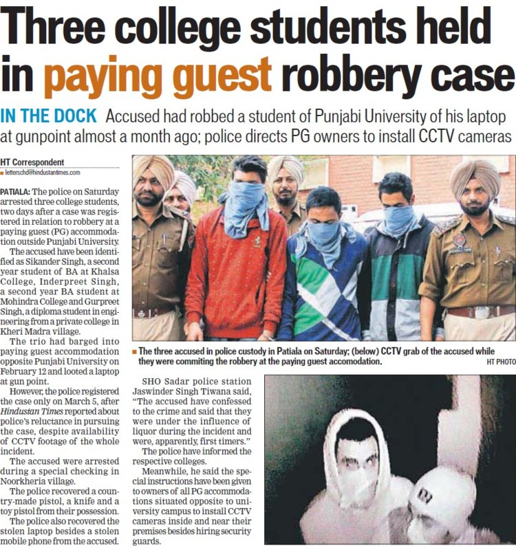 Three college students held in paying guest robbery case (Punjabi University)