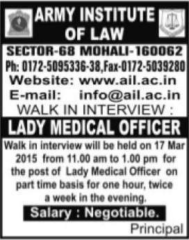 Lady Medical Officer (Army Institute of Law)