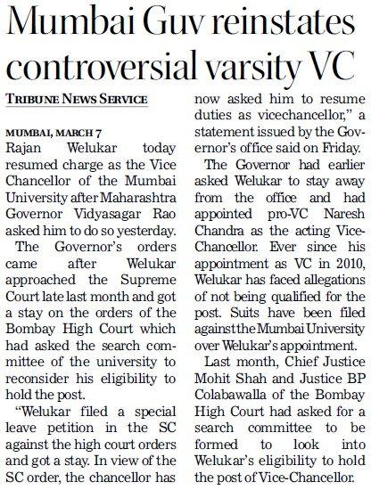 Mumbai Guv reinstates controversial varsity VC (University of Mumbai (UoM))