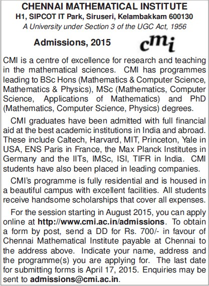BSc in Computer Science (Chennai Mathematical Institute Deemed University)