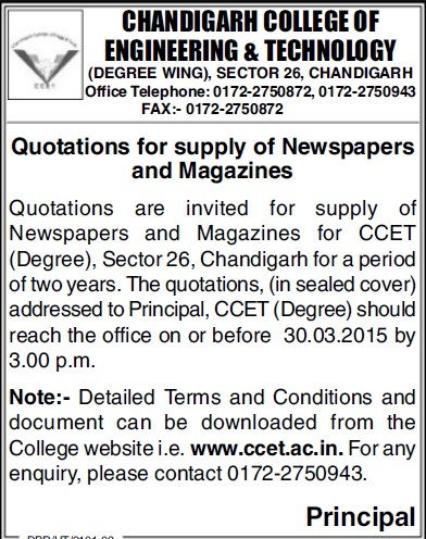 Supply of Newspapers (Chandigarh College of Engineering and Technology (CCET))